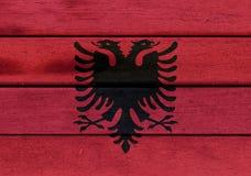 Albania flaga na drewnie Zdjęcie Stock
