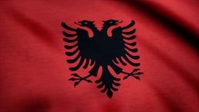 Albania flaga państowowa Realistyczna flaga Albania falowanie w wiatrze ilustracji