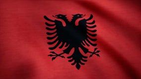 Albania flaga państowowa Realistyczna flaga Albania falowanie w wiatrze royalty ilustracja