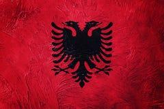albania flaggagrunge Albanien flagga med grungetextur Royaltyfri Fotografi