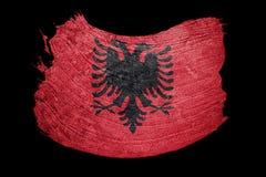 albania flagi crunch Albania flaga z grunge teksturą Szczotkarski str Obraz Royalty Free