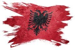 albania flagi crunch Albania flaga z grunge teksturą Szczotkarski str Obrazy Royalty Free