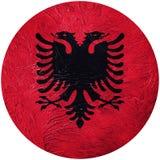 albania flagi crunch Albania guzika flaga Odizolowywająca na białym backg Zdjęcie Royalty Free
