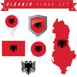 Albania Flags Set Royalty Free Stock Photography