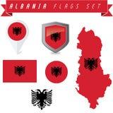 Albania Flags Set Royalty Free Stock Photography
