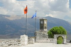Albania, Gjirokaster, Citadel, Flags of Albania and of EU Flying Stock Photo