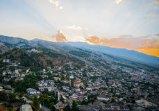 2016 Albania Gjirokastra Castle, old town, view to the city and moutains.  Stock Photo