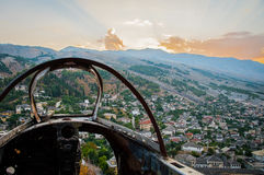 2016 Albania Gjirokastra Castle, old town, view to the city and moutains. Aeroplane from second world war Stock Image