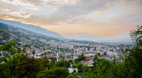 2016 Albania Gjirokastra Castle, old town, view to the city and moutains. In an early evening sun Royalty Free Stock Photography