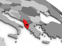 Albania on globe with flag Royalty Free Stock Images