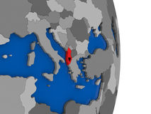 Albania on globe with flag Royalty Free Stock Photography