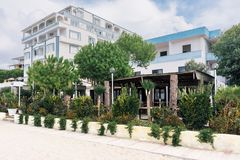 Albania. Golem. Guest apartment buildings on the beach Stock Photo