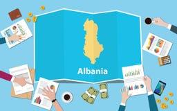 Albania gospodarki kraju narodu wzrostowa drużyna dyskutuje z fałd map widokiem od wierzchołka royalty ilustracja