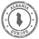 Albania grunge pieczątki tekst i mapa Fotografia Stock