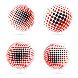 Albania halftone flag set patriotic vector design. 3D halftone sphere in Albania national flag colors isolated on white background Royalty Free Stock Photos