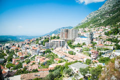 2016, Albania, Kruja. Beautiful view to the city and moutains. Blue sky and green landscape with red roofs of the city. Kruje Royalty Free Stock Image