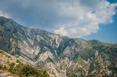 2016 Albania Llogara National park, Llogara pass, panorama of the moutains. Dried river Stock Images