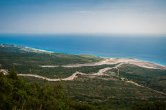 2016, Albania, Llogara National Park, Llogara Pass. Vlore county, view to the bay and beach. Beautiful landscape Royalty Free Stock Images