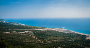 2016, Albania, Llogara National Park, Llogara Pass. Vlore county, view to the bay and beach. With a cloudy sky Royalty Free Stock Photo