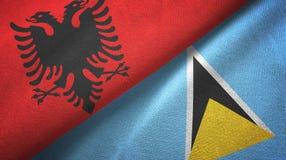 Albania Lucia i święty dwa flagi tekstylny płótno, tkaniny tekstura ilustracja wektor