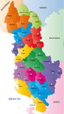 Albania map. Designed in illustration with regions colored in bright colors. Vector illustration royalty free illustration
