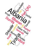 Albania map and cities. Albania map and words cloud with larger cities Stock Photos