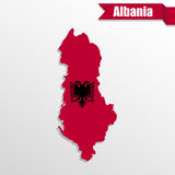 Albania map with flag inside and ribbon Royalty Free Stock Photo