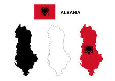 Albania map vector, Albania flag vector, isolated Albania Royalty Free Stock Photo