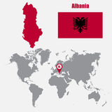 Albania map on a world map with flag and map pointer. Vector illustration Stock Image