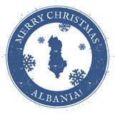 Albania mapa Roczników Wesoło boże narodzenia Albania Zdjęcie Stock