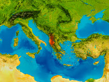 Albania na fizycznej mapie Obraz Stock