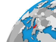 Albania na kuli ziemskiej w czerwieni Fotografia Stock