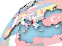 Albania na kuli ziemskiej z flaga Obrazy Stock