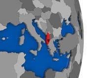 Albania na kuli ziemskiej z flaga Fotografia Royalty Free