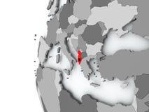 Albania na kuli ziemskiej z flaga Obrazy Royalty Free