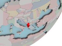 Albania na kuli ziemskiej z flaga Obraz Stock