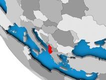 Albania na politycznej kuli ziemskiej Obraz Royalty Free