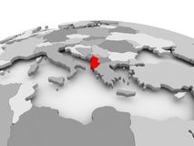 Albania na popielatej kuli ziemskiej Obrazy Stock