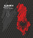 Albania national vector map with sketch chalk flag. Sketch chalk hand drawn illustration. Vector sketch map of Albania with flag, hand drawn chalk illustration Royalty Free Stock Photos
