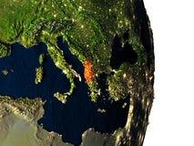 Albania od przestrzeni podczas półmroku Zdjęcie Stock