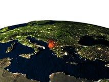 Albania od przestrzeni przy nocą Obrazy Royalty Free