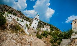 2016, Albania, parco nazionale di Llogara, passaggio di Llogara Contea di Vlore, vista alla baia e spiaggia Fotografia Stock Libera da Diritti