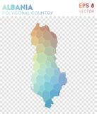 Albania poligonalna mapa, mozaika stylowy kraj ilustracji