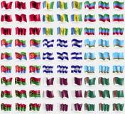 Albania, Saint Vincent and Grenadines, Dagestan, Eritrea, El Salvador, Sakha Republic, Vanuatu, Qatar, Turkmenistan. Big set of 81 Stock Photography