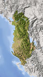 Albania, shaded relief map. Albania. Shaded relief map with major urban areas. Surrounding territory greyed out. Colored according to vegetation. Includes clip Stock Images