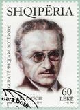 ALBANIA - 2015: shows Carl Ludwig Patsch 1865-1945, series International distinguished personalities. ALBANIA - CIRCA 2015: A stamp printed in Albania shows Carl Stock Photography