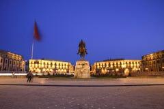 albania skanderbeg fyrkantiga tirana Arkivfoto
