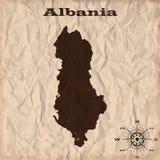 Albania stara mapa z grunge i miącym papierem również zwrócić corel ilustracji wektora Zdjęcie Royalty Free