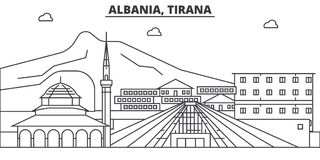 Albania, Tirana architecture line skyline illustration. Linear vector cityscape with famous landmarks, city sights vector illustration