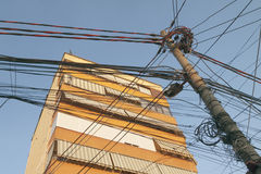 Albania, Tirana, Entangled Telecom Wires Stock Images